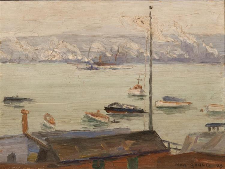 MIDDLETON MANIGAULT, (American, 1887-1922), COLUMBIA YACHT CLUB, 1908, oil on board, 6 x 8 in. (frame: 9 x 11 in.)