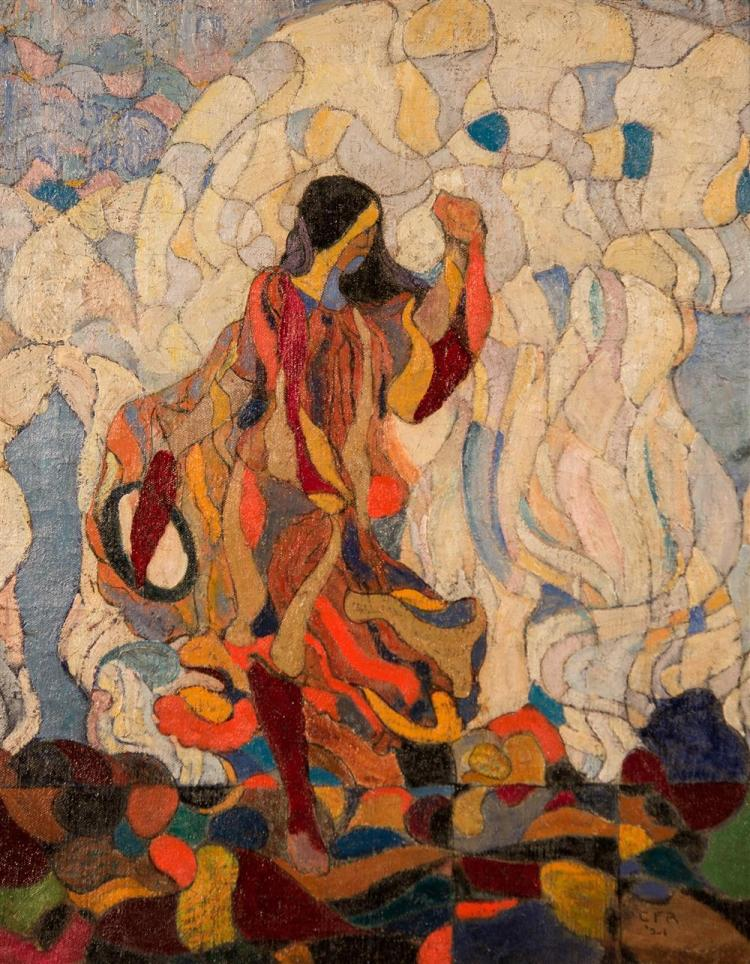 CHARLES FREDERIC RAMSEY, (American, 1875-1951), WOMAN IN COLORS, 1921, oil on canvas, 20 x 16 in. (hand carved period frame: 23 1/2...