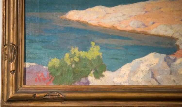 NICHOLAOS OTHONEOS, (Greek, 1877-1950), POROS, GREECE, 1930, oil on canvas, 171/2 x 25 1/4 in. (original hand carved frame: 21 x 29...