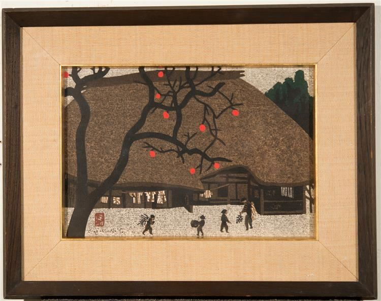 KIYOSHI SAITO, (Japanese, 1907-1997), KAKI (PERSIMMON) IN FALL, ca. 1950, woodblock, sight: 10 x 15 in. (original period frame: 17 x...