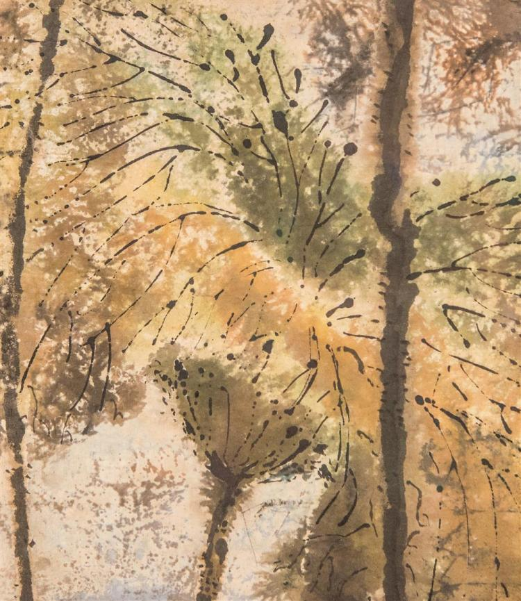 CHI KWAN CHEN, (Chinese, 1921-2007), INTERWEAVING, ca. 1955, watercolor, 47 1/2 x 9 1/2 in. (original frame: 48 1/4 x 10 1/4 in.)