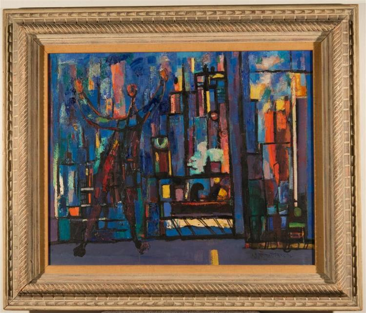 ABRAHAM RATTNER, (American, 189301978), SPRINGTIME WASH DAY or WINDOW CLEANER NO. 2, 1947, oil on canvas, 25 5/8 x 31 in. (hand carv...