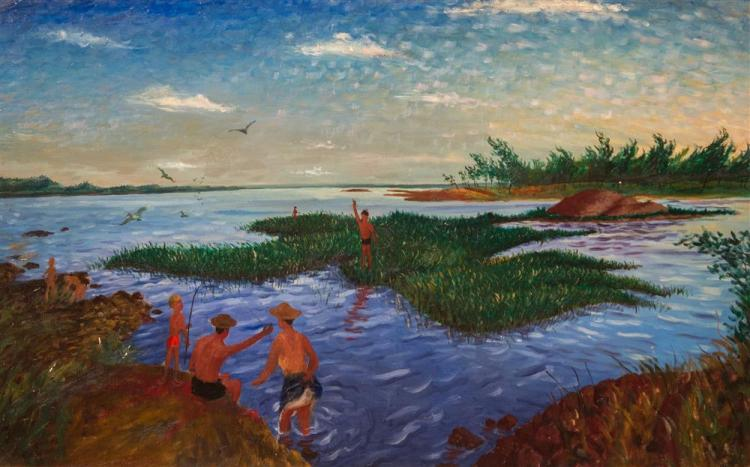 STEFANO CUSUMANO, (American, 1912-1975), THE BATHERS, oil on board, 27 x 43 in. (original frame, painted by the artist: 35 x 51 in.)