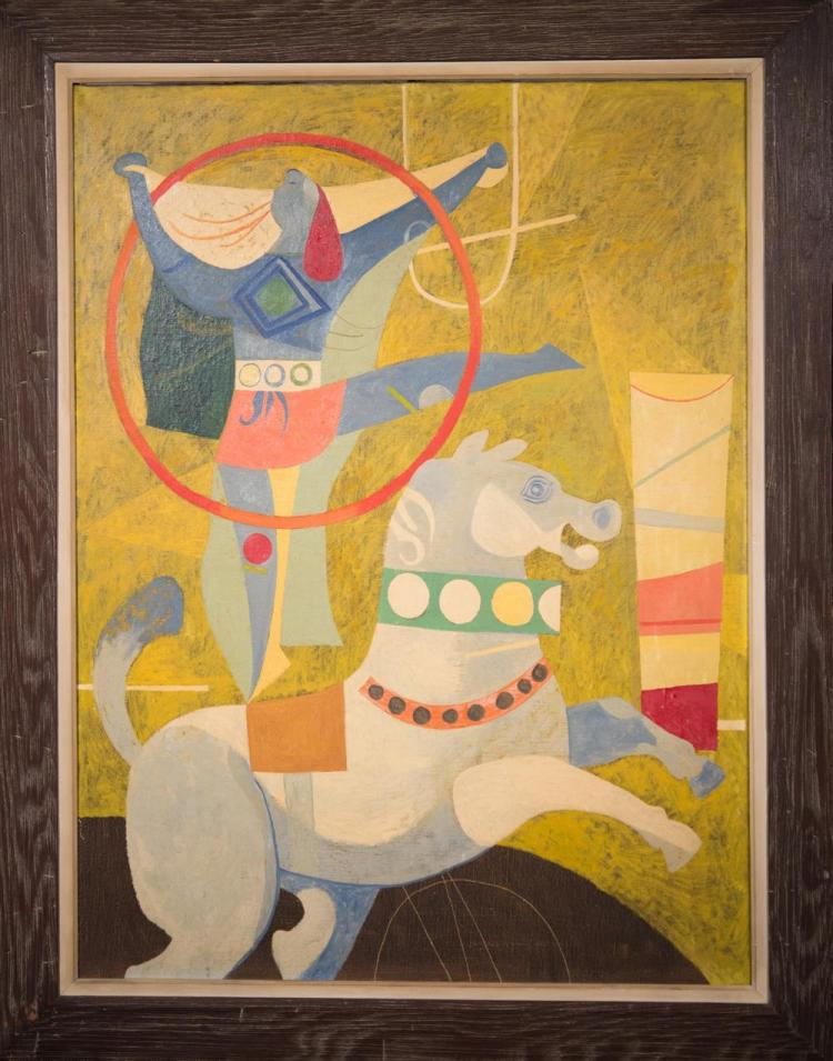 BYRON BROWNE, (American, 1907-1961), THE BAREBACK RIDE, 1946, oil on canvas, 48 x 36 in. (original chestnut frame: 57 x 45 in.)