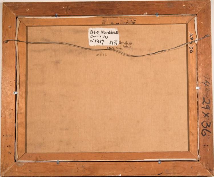 BROR JULIUS OLSSON NORDFELDT, (American/Swedish, 1878-1955), SANTA FE, 1937, oil on canvas, 29 x 36 in. (original frame, handmade by...