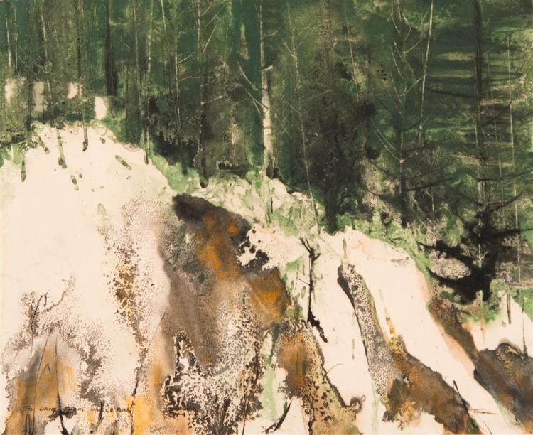 WILLIAM THON, (American, 1906-2000), LANDSCAPE, ca. 1955, watercolor, sight: 13 1/2 x 16 1/2 in. (original frame: 20 1/4 x 24 1/2 in...