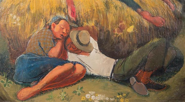 TURE BENGTZ, (American/Finnish, 1907-1973), NOON NAP, ca. 1948, oil on canvas, 20 x 24 in. (original period frame: 24 1/2 x 28 1/2 i...