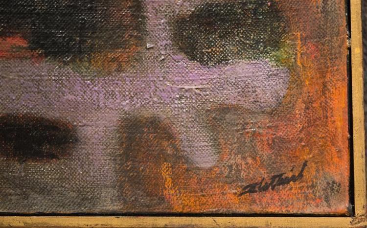 LEONARD THEOBALD FLETTRICH, (American, 1916-1970), UNTITLED, ca. 1955, oil on canvas, 39 x 15 in. (frame: 39 3/4 x 15 3/4 in.)