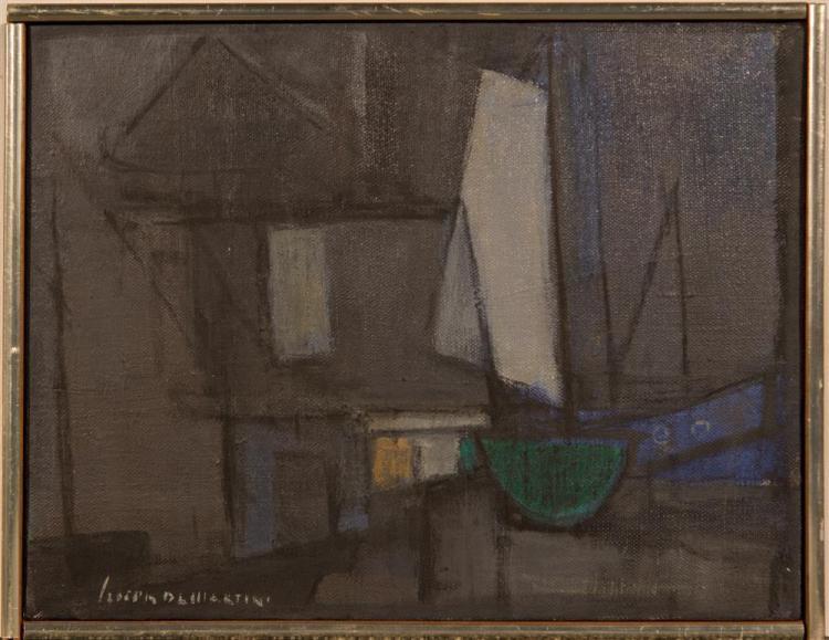 JOSEPH DE MARTINI, (American, 1896-1984), HARBOR SCENE, MONHEGAN, ca. 1950, oil on canvas, 10 x 13 in. (original frame: 10 1/2 x 13...