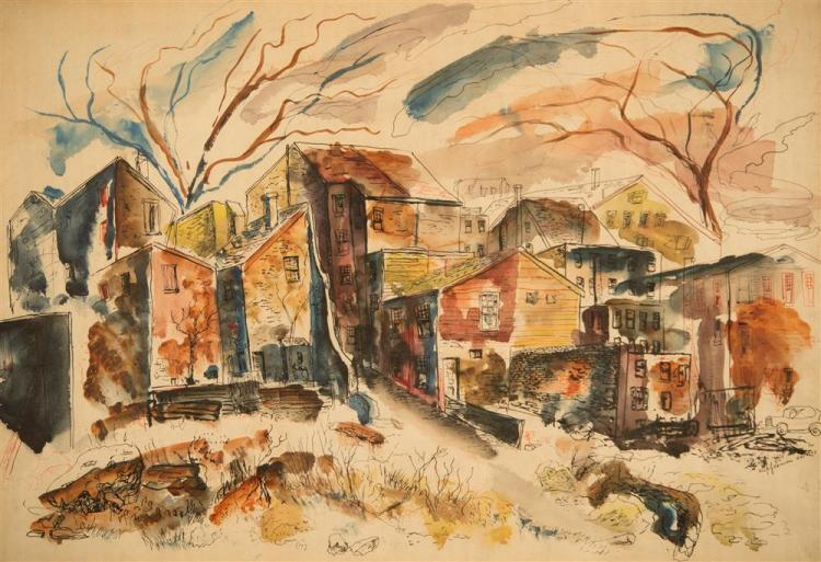 LAWRENCE EDWARD KUPFERMAN, (American, 1909-1982), BOSTON CITY VIEW, 1943, ink and watercolor on paper, sight: 14 1/2 x 21 1/2 in. (f...
