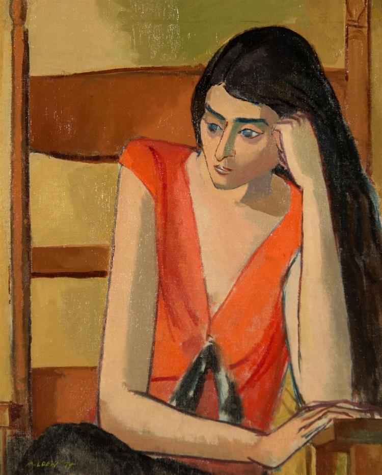MICHAEL LOEW, (American, 1907-1985), PORTRAIT OF A LADY IN ORANGE, 1935, oil on canvas, 24 x 19 1/2 in. (frame: 26 x 22 1/2 in.