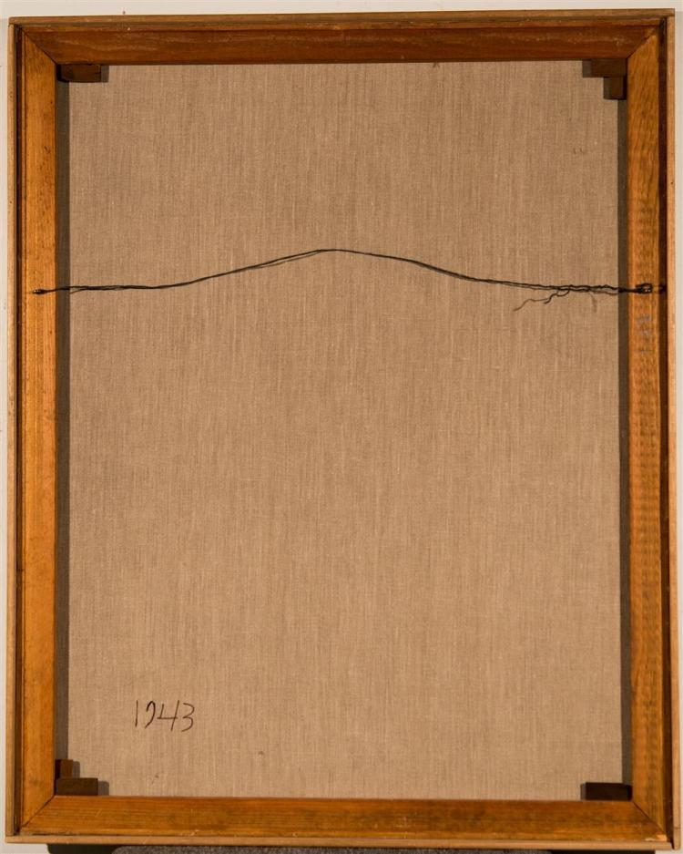 SEYMOUR FRANKS, (American, 1916-1981), ABSTRACT COMPOSITION, 1943, oil on canvas, 35 x 28 in. (frame: 35 3/4 x 28 3/4 in.)