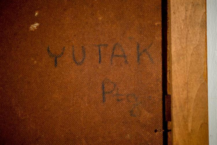 YUTAKA OHASHI, (Japanese, b. 1923), TOPME, 1951-2, oil on masonite, 30 x 19 in. (original frame: 34 1/2 x 23 1/2 in.)
