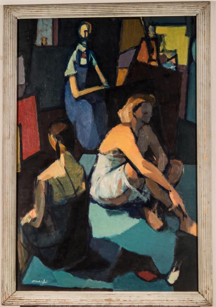 YUTAKA OHASHI, (Japanese/American, b. 1923), FIGURE COMPOSITION, 1952-3, oil on masonite, 36 x 24 in. (original frame: 39 x 27 in.)