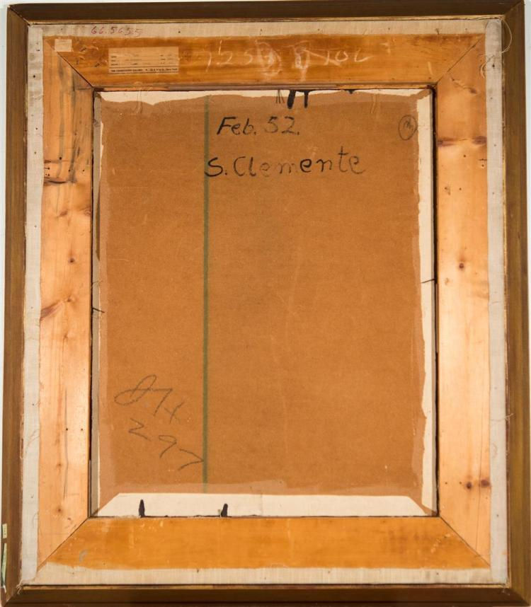 KARL ZERBE, (American, 1903-1972), SAN CLEMENTE, 1952, encaustic on canvas laid on masonite, 30 x 24 in. (original frame: 48 x 27 in...