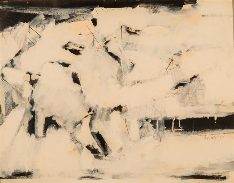 ANGELO IPPOLITO, (American, 1922-2002), WINTER DRAWING #2, 1957, mixed media on board, 22 x 28 in. (period frame: 22 1/4 x 28 1/4 in...