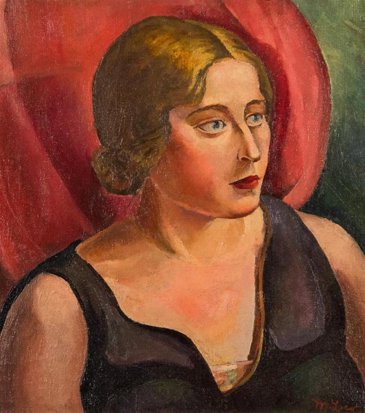 MICHAEL LOEW, (American, 1907-1985), PORTRAIT OF A LADY IN BLACK, ca. 1932, oil on canvas, 17 x 16 in. (period Heydenrich frame: 25...
