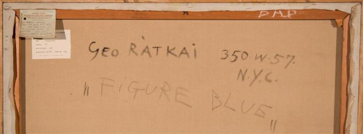 GEORGE RATKAI, (American, 1907-1999), FIGURE BLUE, oil on canvas, 60 x 36 in. (Frame: 61 x 37 in.)