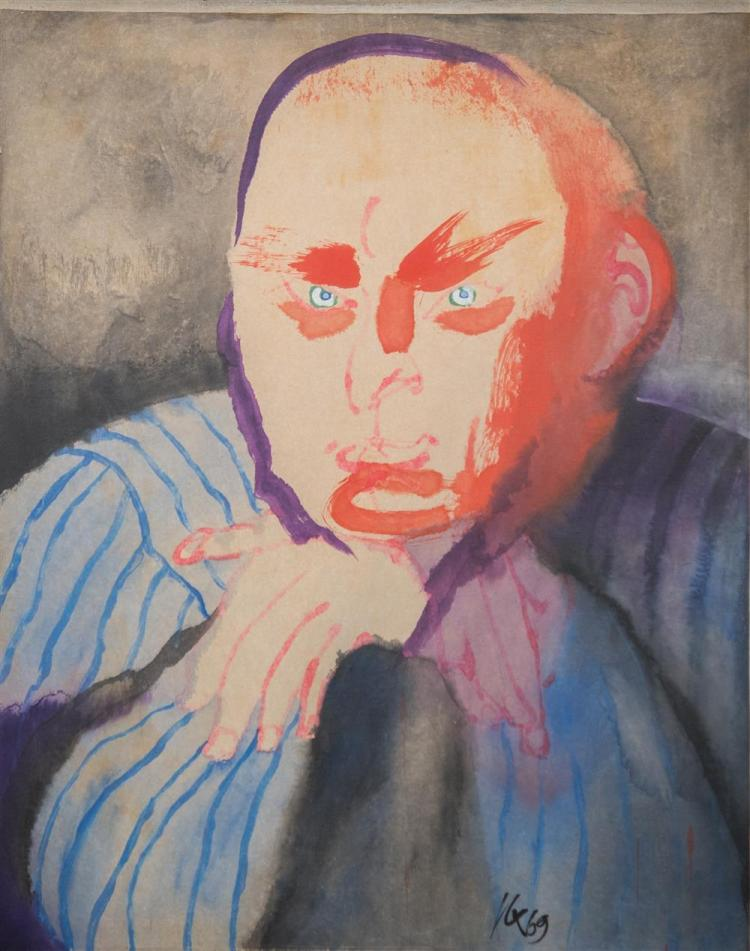 JAN COX, (Belgian/American, 1919-1980), PORTRAIT OF THE MIT PROFESSOR AARON FLEISHER, 1969, mixed media on paper laid on canvas, 48...
