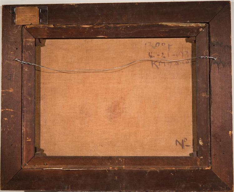 KANAME MIYAMOTO, (American/Japanese, 20th century), ROOF, oil on canvas, 20 x 26 in. (original hand-carved frame: 26 1/2 x 32 1/2 in...