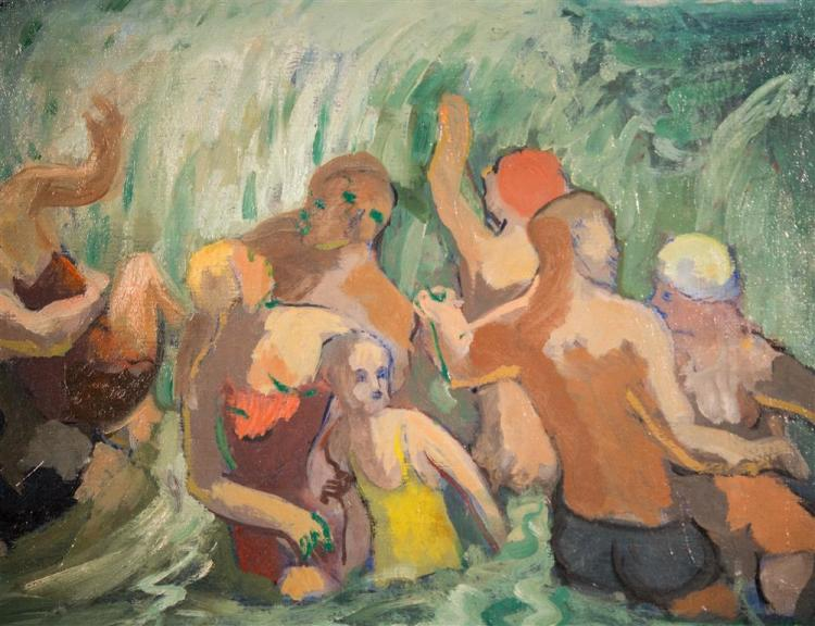 MICHAEL LOEW, (American, 1907-1985), BATHERS, 1934, oil on canvas, 20 x 24 in. (hand carved period Heydenryk frame: 27 x 31 in.)