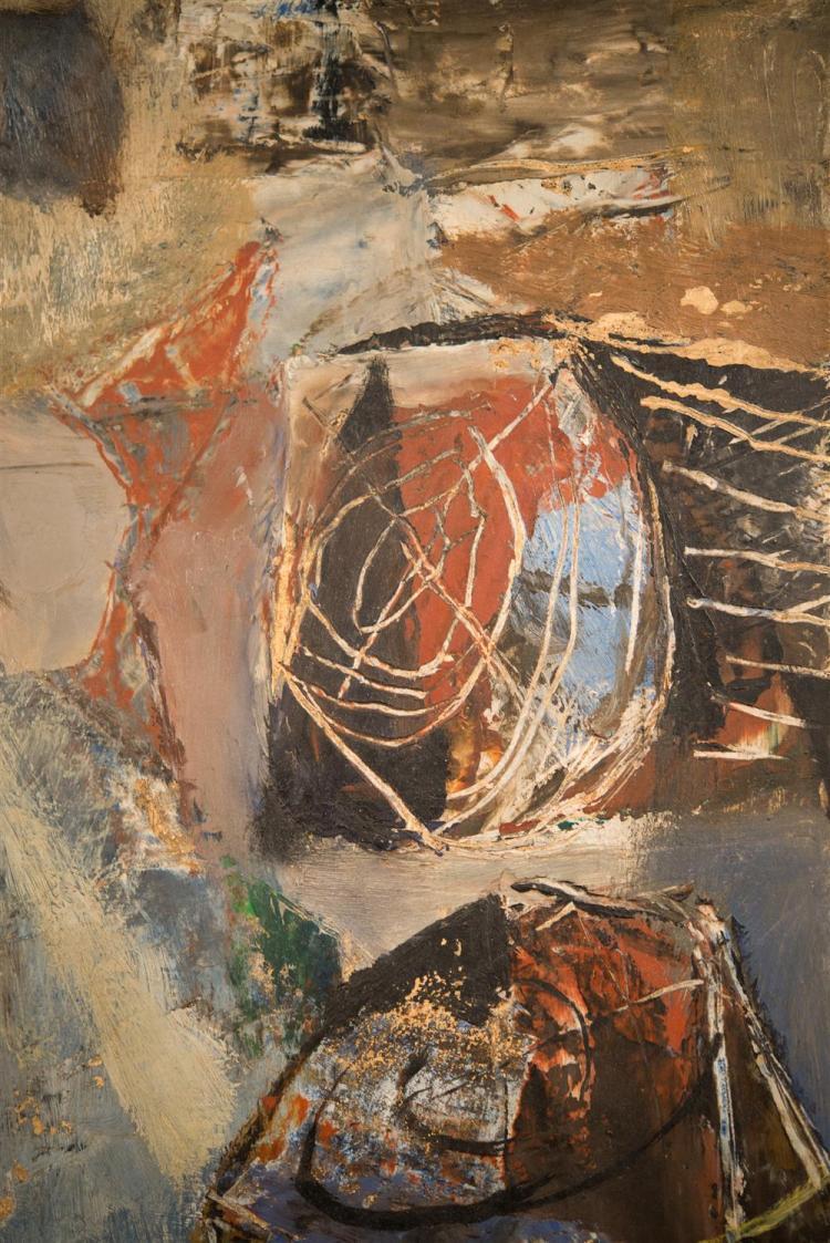 REUBEN TAM, (American, 1916-1991), COASTLINE TIMBER, 1946, oil on board, 20 x 16 in. (original period frame: 25 1/2 x 21 1/2 in.)