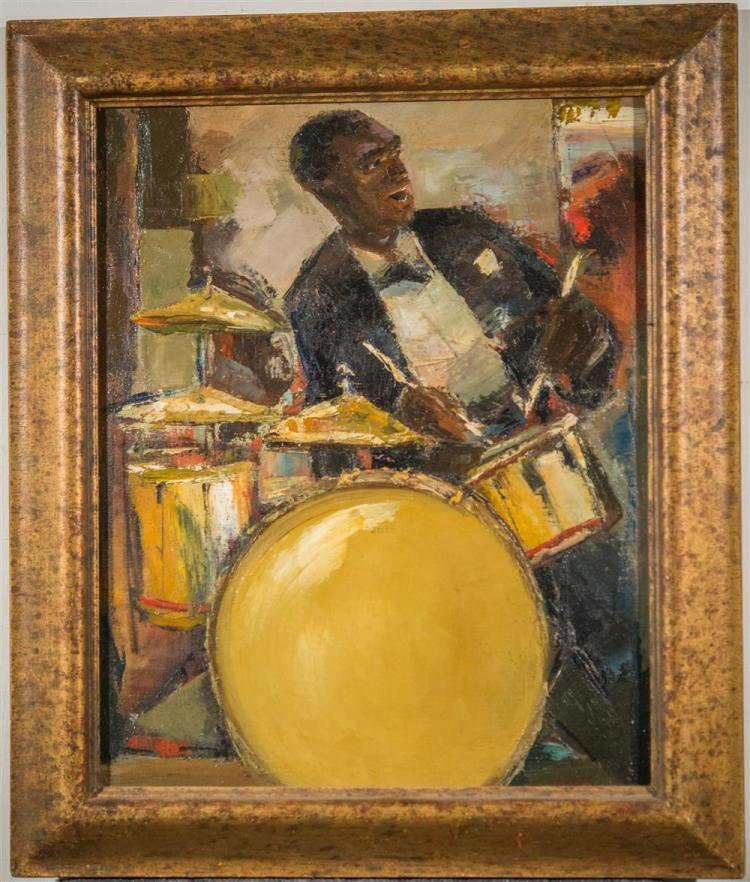 JEFFERSON TESTER, (American, 1900-1972), THE JAZZ DRUMMER, ca. 1940, oil on canvas, 22 x 18 in. (period frame: 26 1/2 x 22 1/2 in.)