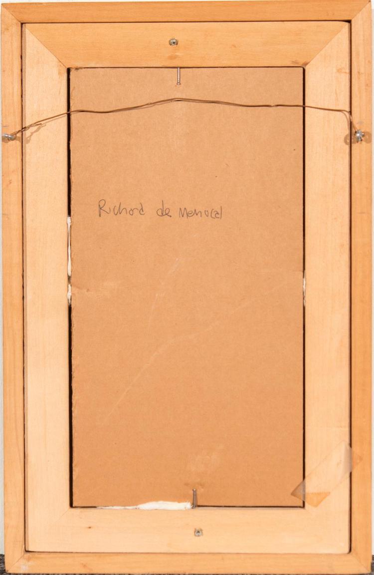 RICHARD DE MENOCAL, (American, b.1919), THREE FEATHERS, ca. 1950, oil on board, 11 1/4 x 6 in. (frame: 14 3/4 x 9 1/2 in.)