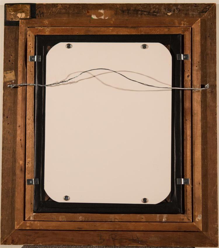 REGINALD MARSH, (American, 1898-1954), BURLESQUE DANCER, ca. 1945, oil on board, 19 1/4 x 15 3/4 in. (period frame: 26 1/2 x 23 1/4...