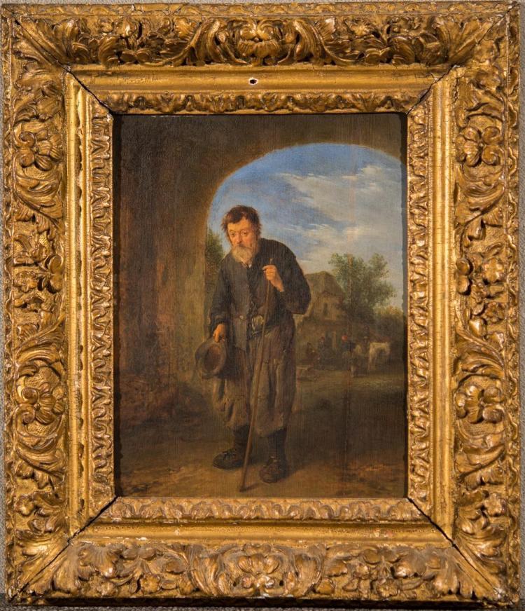 ADRIAEN VAN OSTADE, (Dutch, 1601-1685), A MENDICANT, oil on panel, 11 x 8 3/4 in. (17 x 14 3/4 in.)