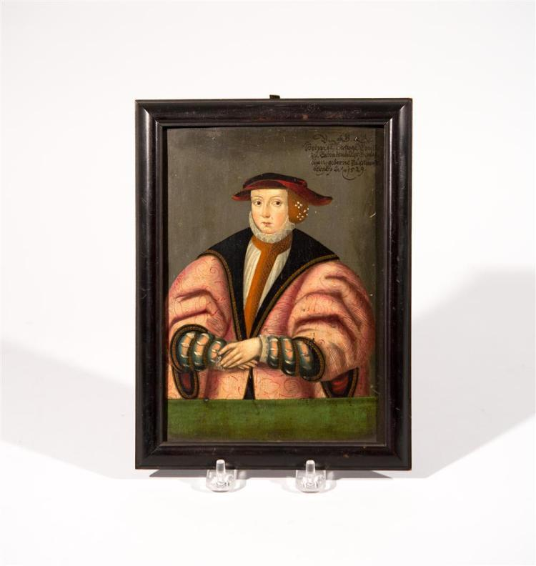 OLD MASTER , PORTRAIT OF A GENTLEMAN IN 16TH C. DRESS, oil on panel, 8 x 6 in. (9 x 7 in.)