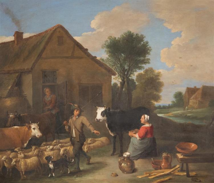 DUTCH SCHOOL , (18th century), FARMYARD SCENE, oil on canvas, 22 1/2 x 27 in. (31 1/2 x 35 in.)