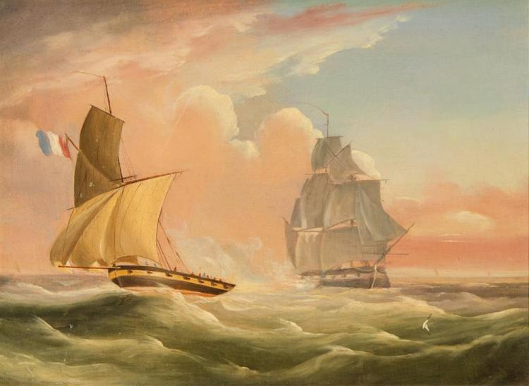ATTRIBUTED TO THOMAS BUTTERSWORTH, JR., (British, 1797-1842), FRENCH ARMED CUTTER ESCAPING FROM A BRITISH FRIGATE, oil on canvas, 10...