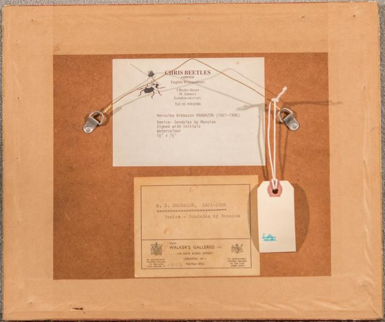 HERCULES BRABAZON BRABAZON, (British, 1821-1906), VENICE - GONDOLAS BY MANSION, watercolor, 5 1/2 x 7 1/2 in. (12 x 14 1/4 in.)