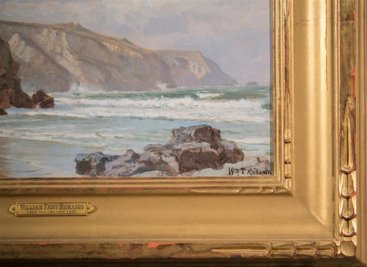 WILLIAM TROST RICHARDS, (American, 1833-1905), BEACH: ICART POINT, GUERNSEY, ENGLAND, oil on board, 9 1/4 x 16 1/4 in. (15 1/2 x 22...