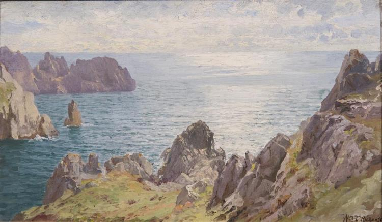 WILLIAM TROST RICHARDS, (American, 1833-1905), ON ICART POINT, GUERNSEY, oil on board, 9 1/2 x 15 3/4 in. (16 1/2 x 22 3/4 in.)