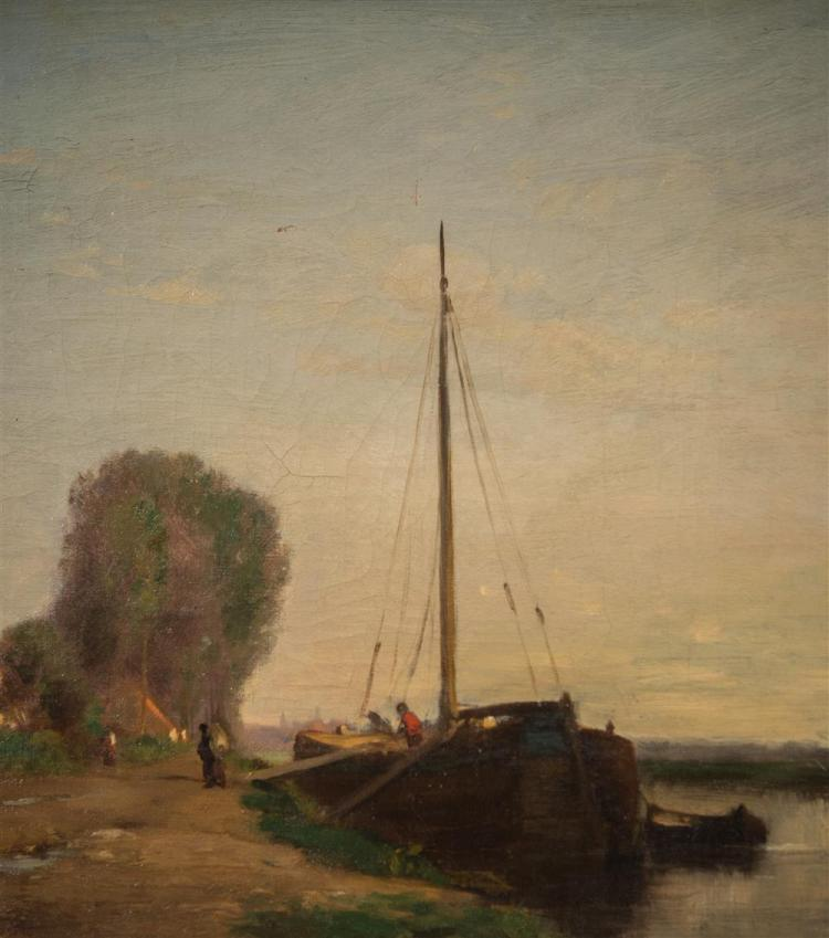 JOSEPH FOXCROFT COLE, (American, 1837-1892), RIVER CANAL IN BRITTANY, FRANCE, oil on canvas, 12 x 22 in. (14 x 24 in.)