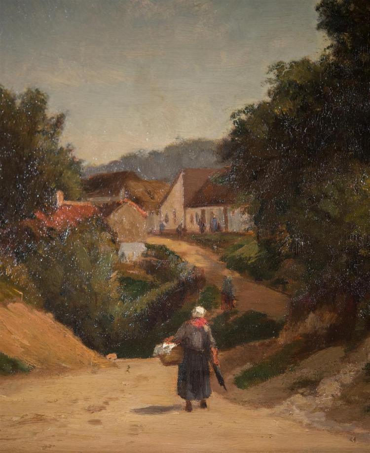 JOSEPH FOXCROFT COLE, (American, 1837-1892), PICQUIGNY, PICARDY, FRANCE, 1864, oil on panel, 12 x 18 in. (15 1/4 x 21 1/4 in.)