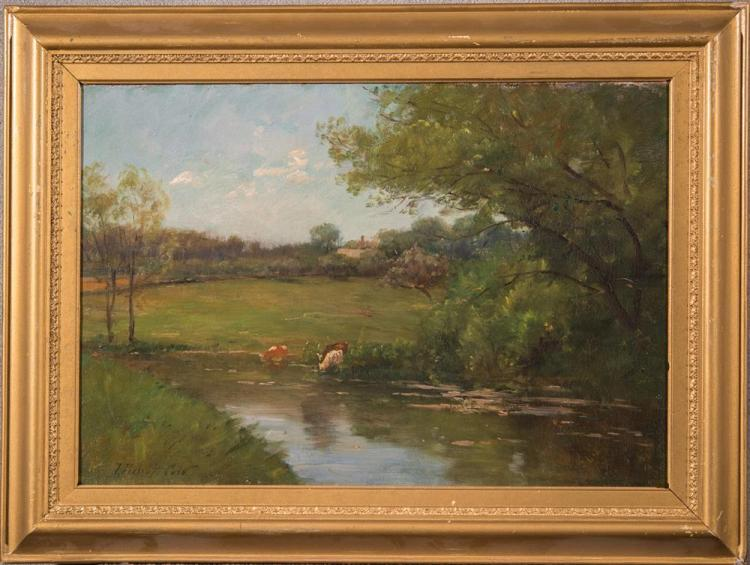 JOSEPH FOXCROFT COLE, (American, 1837-1892), COWS BY THE RIVER, oil on canvas, 13 1/4 x 19 1/4 in. (17 1/2 x 23 1/2 in.)