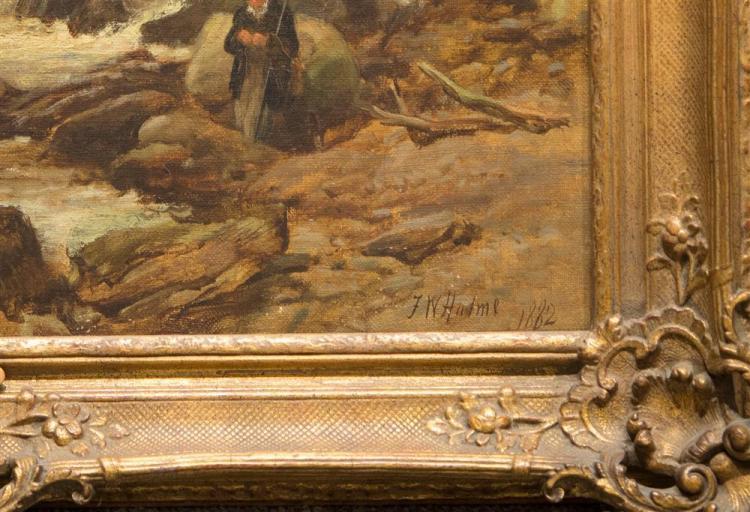 FREDERICK HULME, (British, 1816-1884), A SALMON STREAM, 1882, oil on canvas, 34 x 26 in. (39 1/2 x 32 in.)