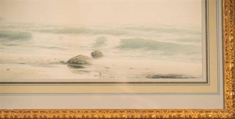 ALFRED THOMPSON BRICHER, (American, 1837-1908), MORNING ON THE MAINE COAST, watercolor, sight: 10 x 29 1/2 in. (17 3/4 x 36 in.)