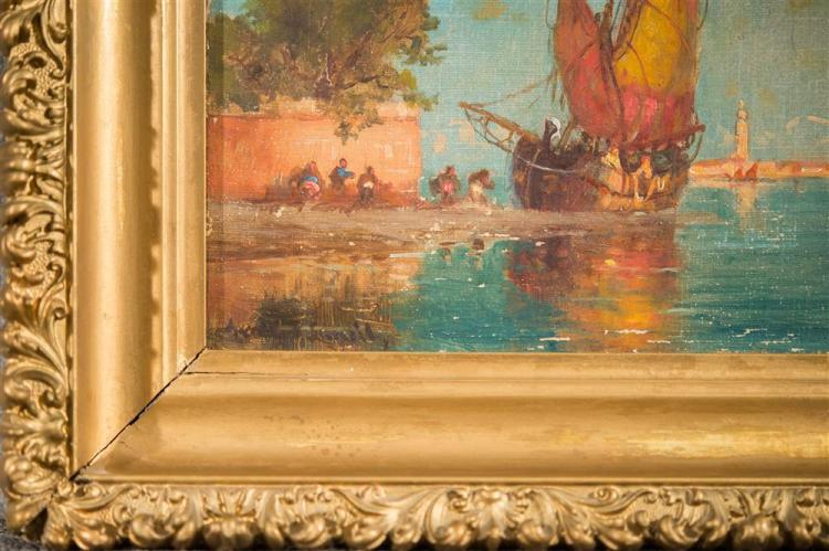 WALTER FRANKLIN LANSIL, (American, 1846-1925), LOW TIDE VENICE and DUCAL PALACE AND CAMPANILE, VENICE, oil on canvas, one: 9 x 12 in...