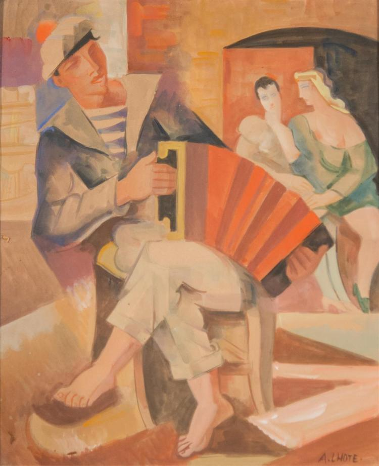 ANDRE LHOTE, (French, 1885-1962), LE MARIN A L'ACCORDEON, watercolor and gouache on J. Perrigot, Arches paper, sight: 19 x 15 3/4 in..