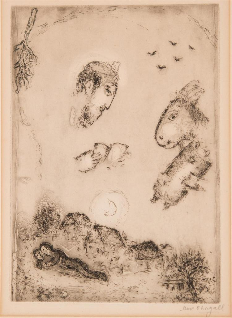 MARC CHAGALL, (French, 1887-1985), DER ESEL UBER DEM DORF, 1951/52 etching, plate: 11 x 7 1/2 in.; sheet: 12 x 9 in.
