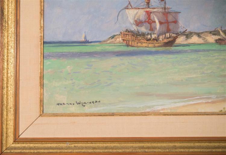 NORMAN WILKINSON, (British, 1878-1971), COLUMBUS LANDFALL, GRAHAMS BAY, SAN SALVADOR, oil on canvas, 18 x 24 in. (23 1/2 x 29 1/2 in...