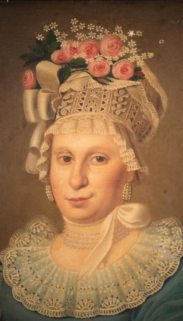 SPANISH SCHOOL , (18th/19th century), FANCIFUL PORTRAIT OF A LADY, oil on canvas, 23 x 20 in. (29 1/2 x 26 in.)