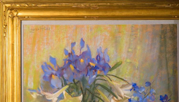 LAURA COOMBS HILLS, (American, 1859-1952), LILIES AND IRIS, pastel, sight: 22 3/4 x 19 in. (28 1/2 x 24 3/4 in.)