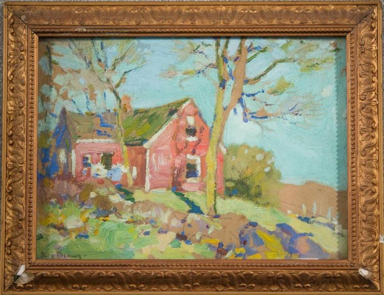 ROY HENRY BROWN, (American, 1879-1956), THE RED HOUSE, oil on board, 6 x 8 1/2 in. (8 x 10 in.)