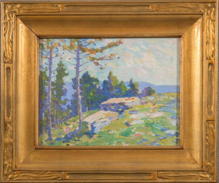 ROY HENRY BROWN, (American, 1879-1956), MOUNTAINSIDE SCENE, oil on canvasboard, 10 1/2 x 13 1/2 in. (17 x 20 in.)