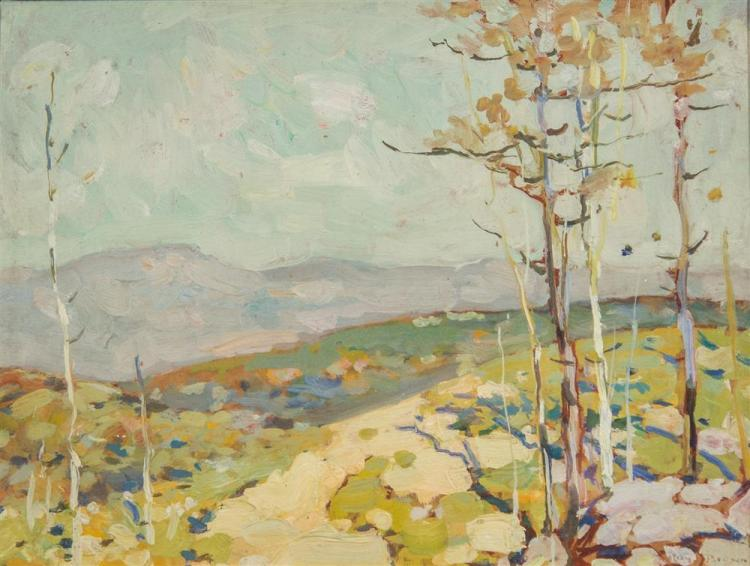 ROY HENRY BROWN, (American, 1879-1956), MOUNTAIN LANDSCAPE, oil on board, 11 x 15 in. ( 18 1/2 x 22 1/2 in.)